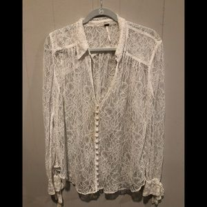 Free people ivory lace blouse L